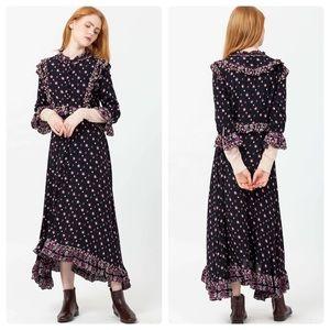 Free People Calico Skies Midi Dress Black Medium